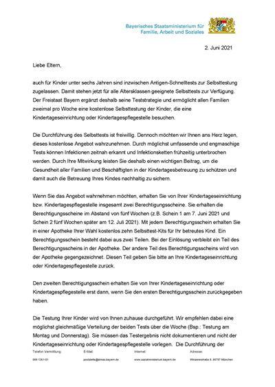 Eltrernbrief vom 02. Juni 2021